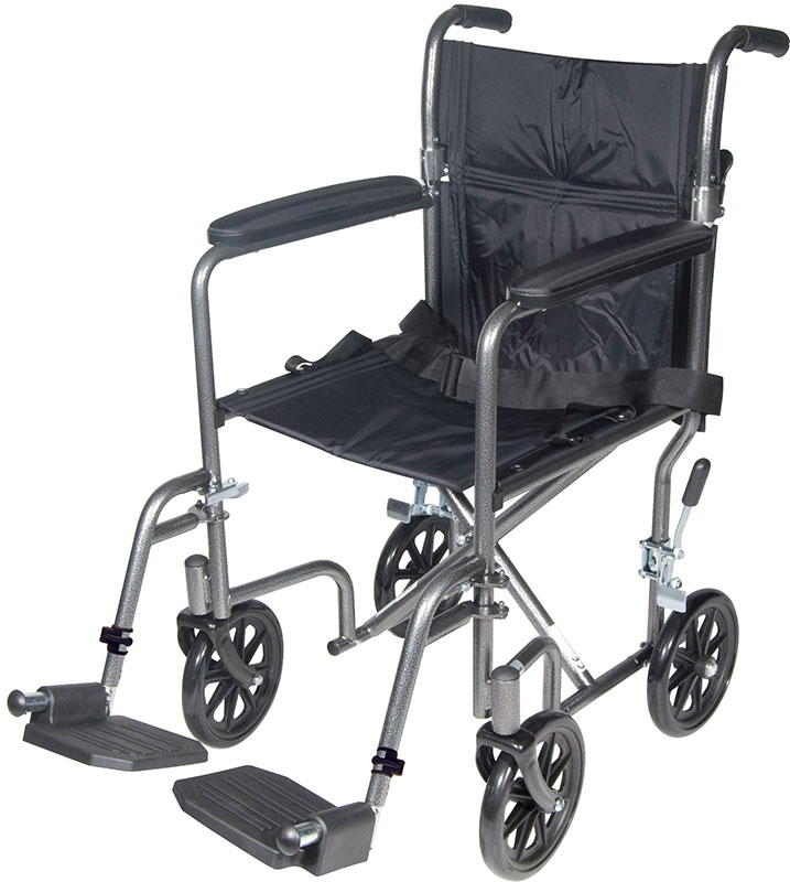 Drive Medical 17 inch Silver Lightweight Transport Wheelchair w/Footrest