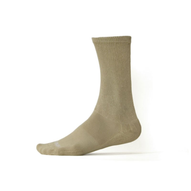 Ecosox Diabetic Bamboo Crew Socks Tan MD pair 3-pack