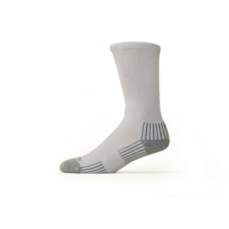Ecosox Diabetic Bamboo Crew Socks White/Gray XL pair