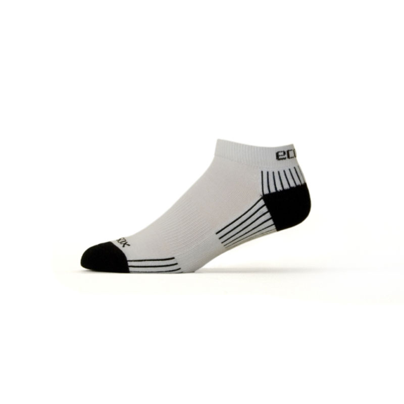 Ecosox Diabetic Bamboo Lo-Cut Socks White/Black MD pair