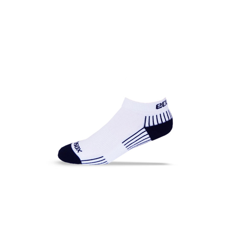 Ecosox Diabetic Bamboo Lo-Cut Socks White/Navy LG 6-pack