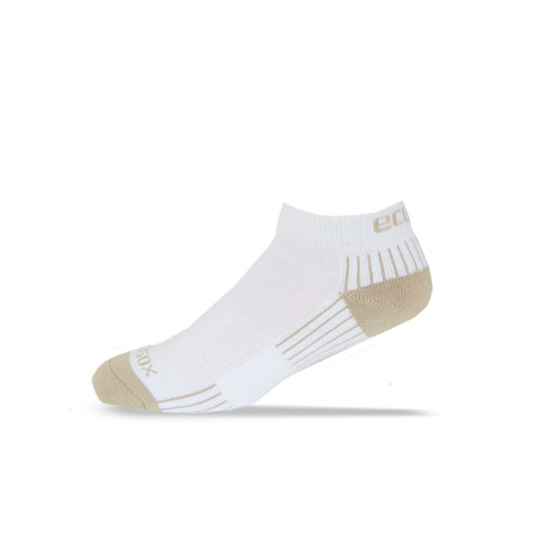 Ecosox Diabetic Bamboo Lo-Cut Socks White/Tan LG 6-pack