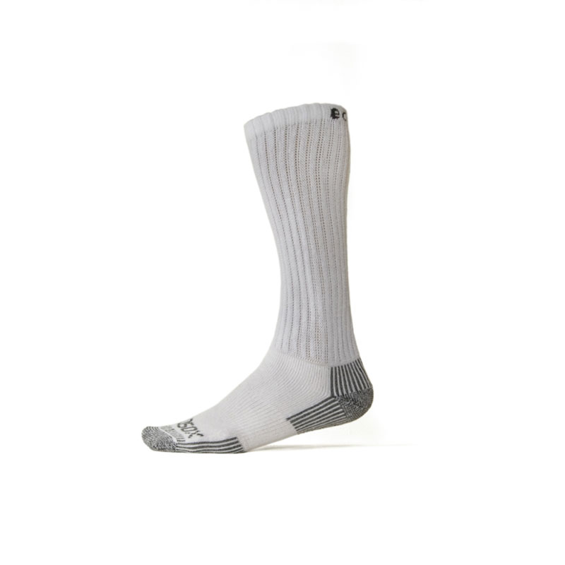 Ecosox Diabetic Bamboo Over The Calf Socks White/Gray LG 6-pack