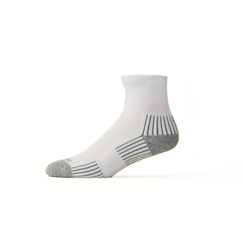 Ecosox Diabetic Bamboo Quarter Socks White/Gray LG pair