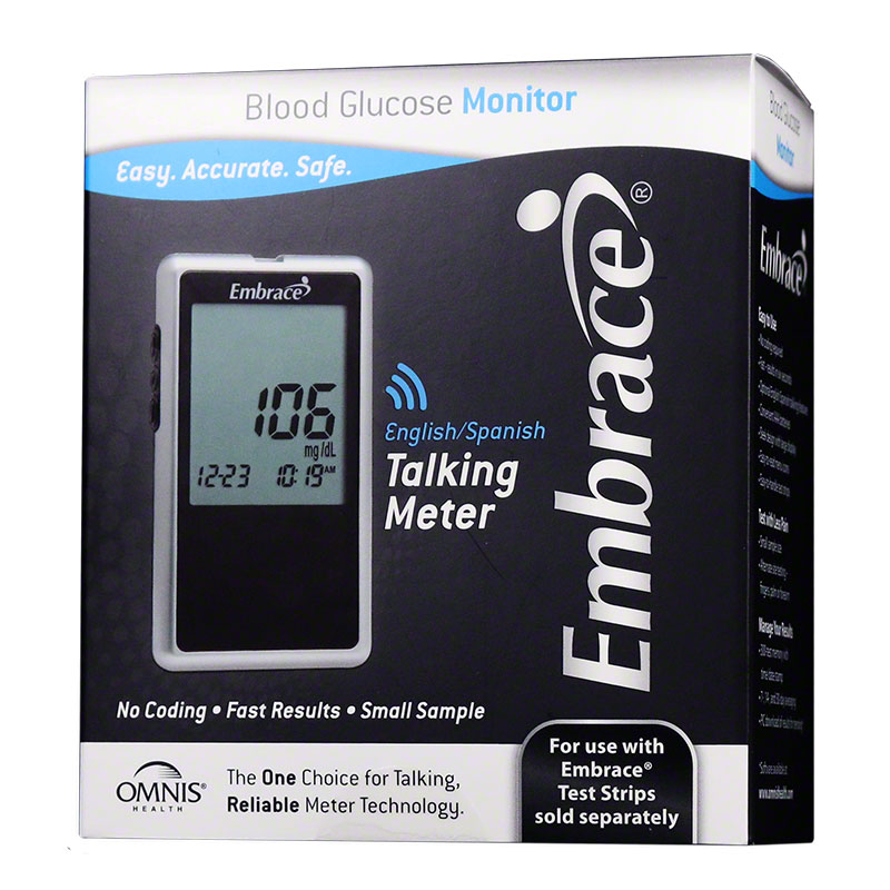Embrace No-Code Talking Blood Glucose Meter Kit - Pack of 8