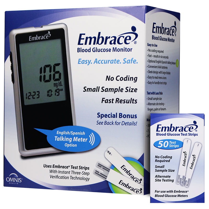 embrace glucose test strips. Embrace No-Code Talking Meter Kit W/50 Test Strips Glucose C