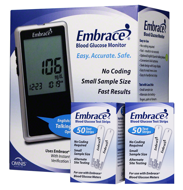 Embrace No-Code Talking Meter Kit w/100 Test Strips