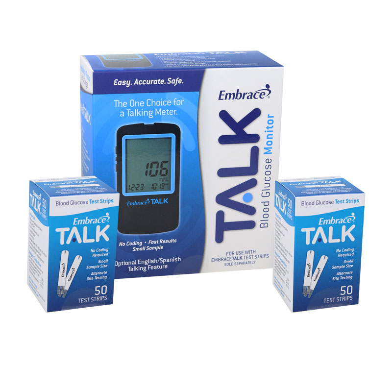 Embrace Talk No-Code Blood Glucose Meter w/100 Test Strips