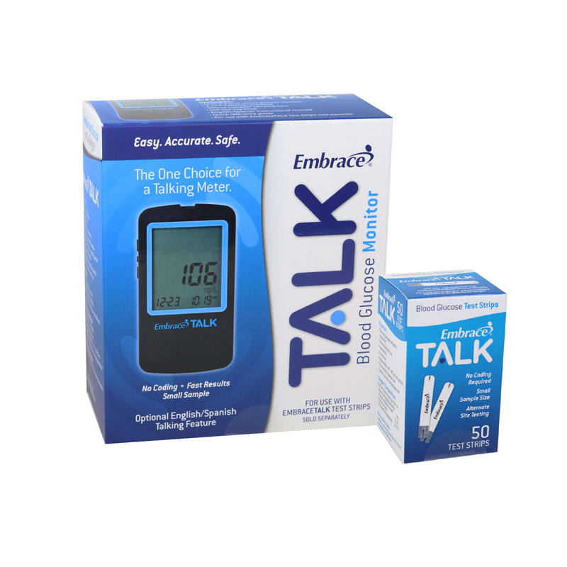 Embrace Talk No-Code Blood Glucose Meter w/50 Test Strips