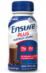 Abbott Ensure Plus Shake Gluten-Free Dark Chocolate 8oz Pack of 24