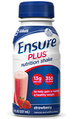 Abbott Ensure Plus Shake Gluten-Free Strawberry 8oz Pack of 24