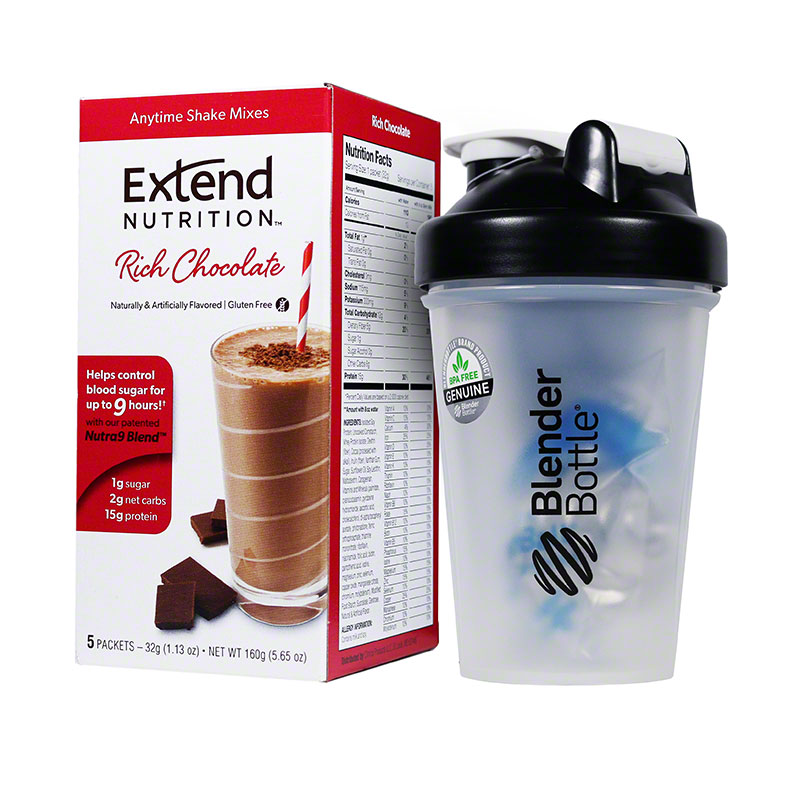 ExtendShakes Chocolate 5-packet Carton w/20oz Blender Bottle - Black
