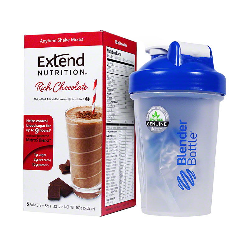 ExtendShakes Chocolate Case w/20oz Blender Bottle - Blue
