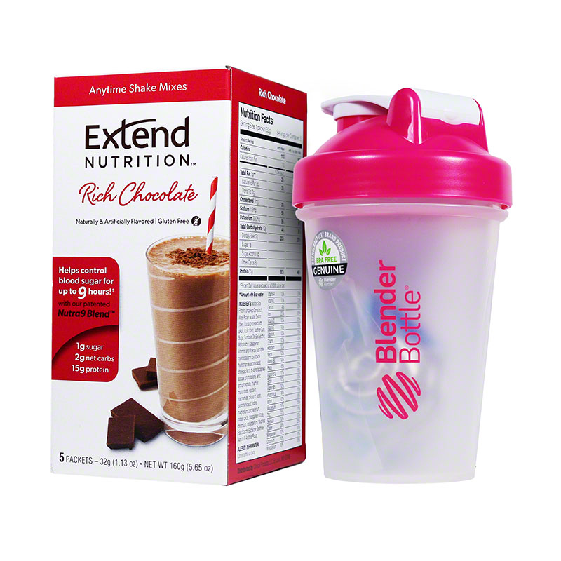 ExtendShakes Chocolate 5-packet Carton w/20oz Blender Bottle - Pink