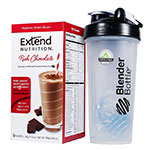 ExtendShakes Chocolate Case w/28oz Blender Bottle - Black