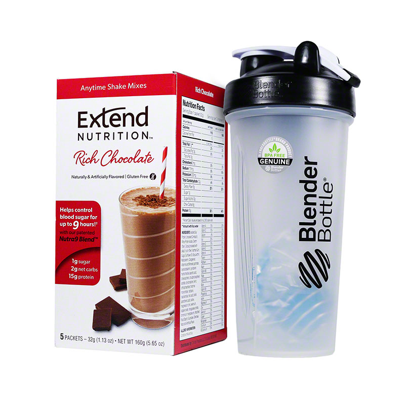 ExtendShakes Chocolate 5-packet Carton w/28oz Blender Bottle - Black