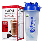 ExtendShakes Chocolate Case w/28oz Blender Bottle - Blue