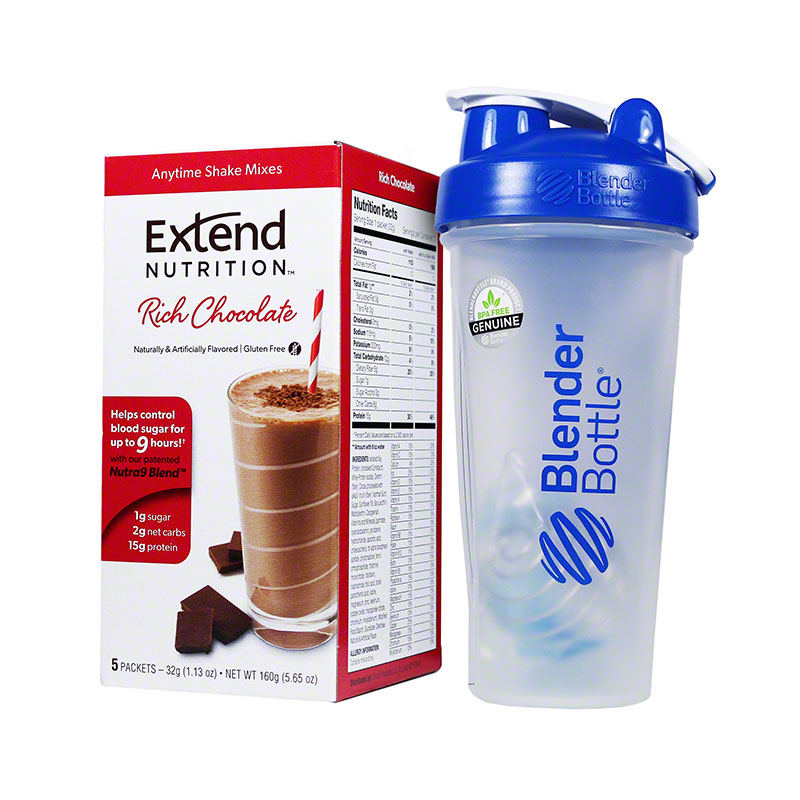 ExtendShakes Chocolate 5-packet Carton w/28oz Blender Bottle - Blue