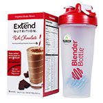 ExtendShakes Chocolate 5-packet Carton w/28oz Blender Bottle - Red