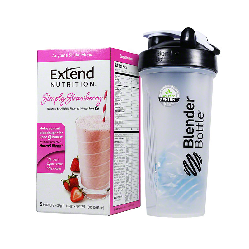 ExtendShakes Strawberry 5-packet Carton w/28oz Blender Bottle - Black