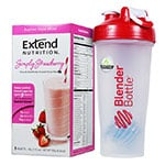 ExtendShakes Strawberry 5-packet Carton w/28oz Blender Bottle - Red