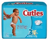 First Quality Cuties Baby Diapers Sz 5 White 27+lbs CR5001 108/cs