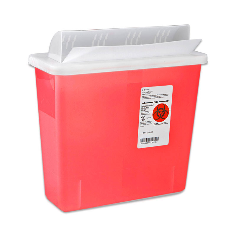 GatorGuard In Room Sharps Container, 3 Gallon - Transparent Red