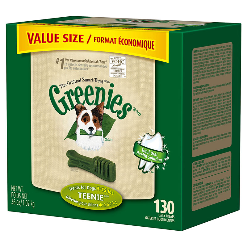 GREENIES Dental Chews Value Size Tub 36oz Teenie - Case of 5