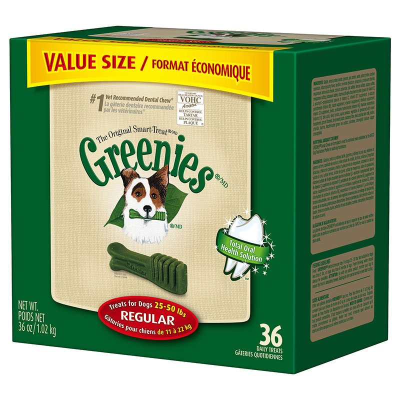 GREENIES Dental Chews Value Size Tub 36oz Regular - Case of 5