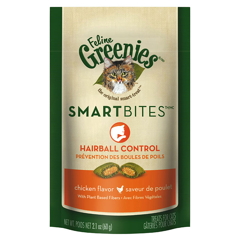 Greenies Feline SMARTBITES Hairball Control Chicken 2.1oz - 6 Pack