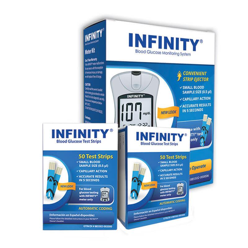 INFINITY Glucose Test Strips 100/bx w/ Meter Kit