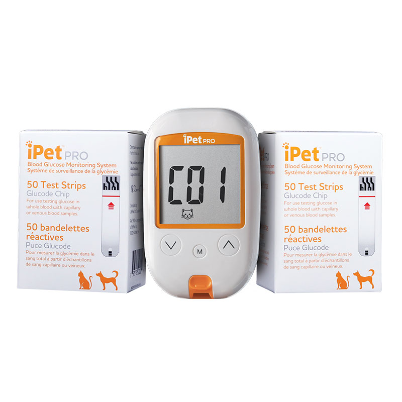 iPet PRO Blood Glucose Monitoring System Kit + 100 Test Strips