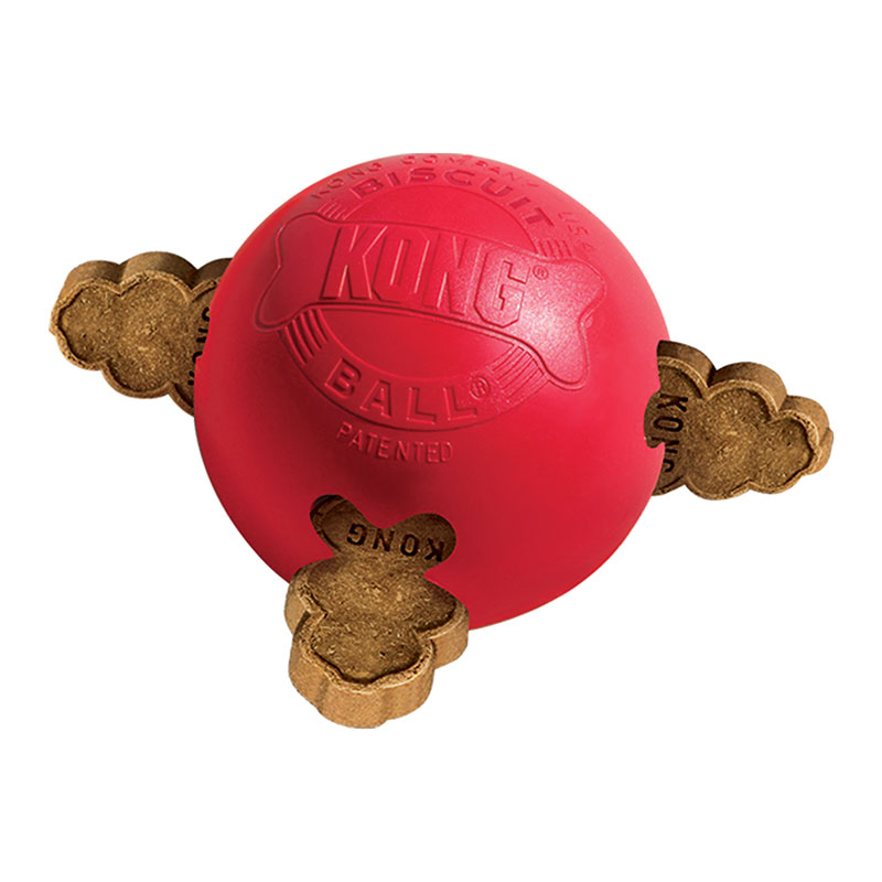 KONG Biscuit Ball Dog Chew Toy Red - Small