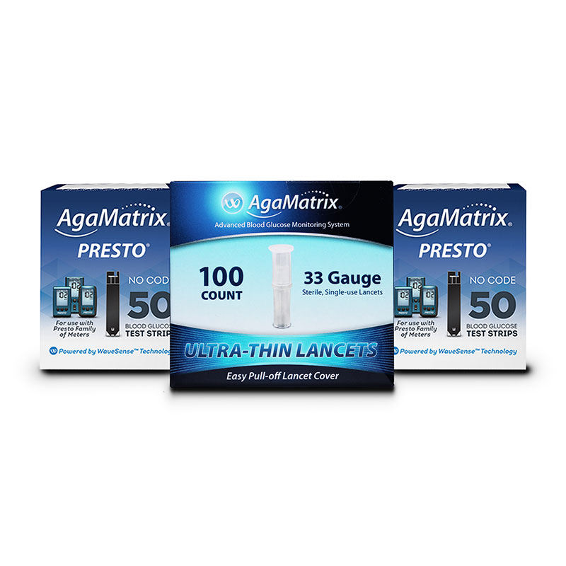AgaMatrix Presto Blood Glucose Test Strips 100ct, 100 Lancets