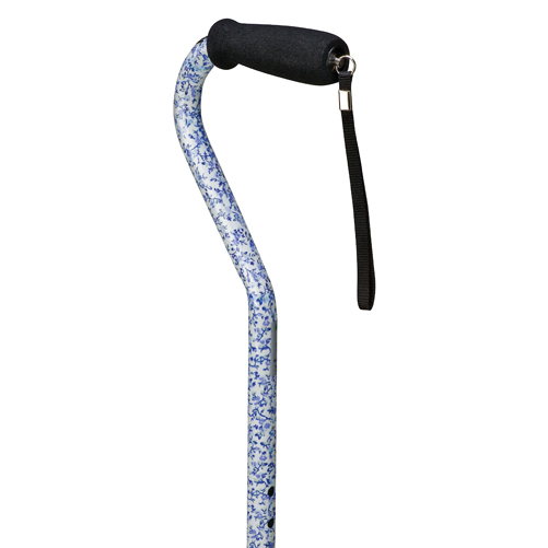 Mabis DMI Deluxe Adjustable Aluminum Cane Offset Handle Flowers