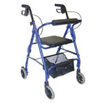 Mabis DMI Ultra Lightweight Aluminum Rollator w/Adjust Seat Blue thumbnail