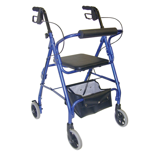 Mabis DMI Ultra Lightweight Aluminum Rollator w/Adjust Seat Blue