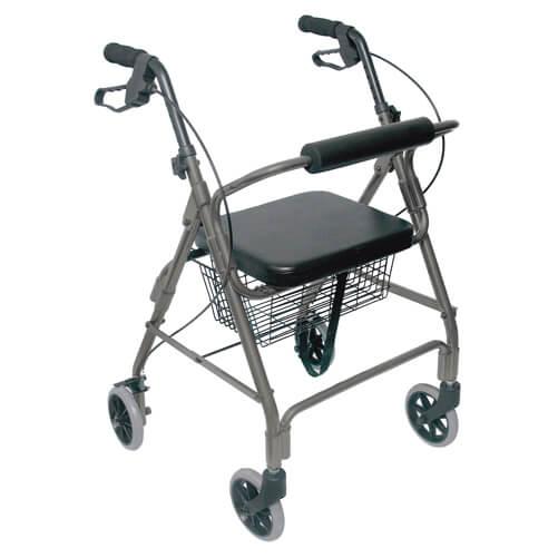 Mabis DMI Ultra Lightweight Aluminum Rollator Titanium With Basket