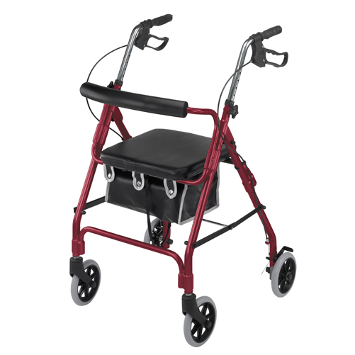 Mabis DMI Ultra Lightweight Aluminum Rollator Burgundy With Bag