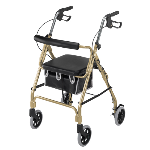 Mabis DMI Ultra Lightweight Aluminum Rollator w/Curved Backrest Gold