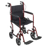 Mabis DMI Folding Steel Transport Chair With Hand Brakes Burgundy