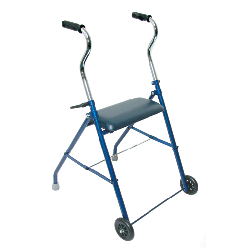 Mabis DMI Steel Walker with Wheels and Seat Royal Blue