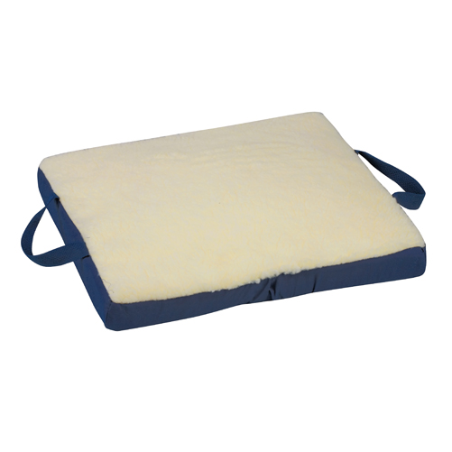 Mabis DMI Gel/Foam Flotation Cushion Fleece Cover Cream 16x18x2