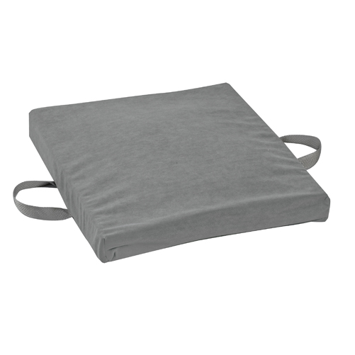 Mabis DMI Gel/Foam Flotation Cushion Velour Cover Gray 16x18x2