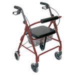 Mabis DMI Ultra Lightweight Aluminum Rollator Burgundy With Basket thumbnail