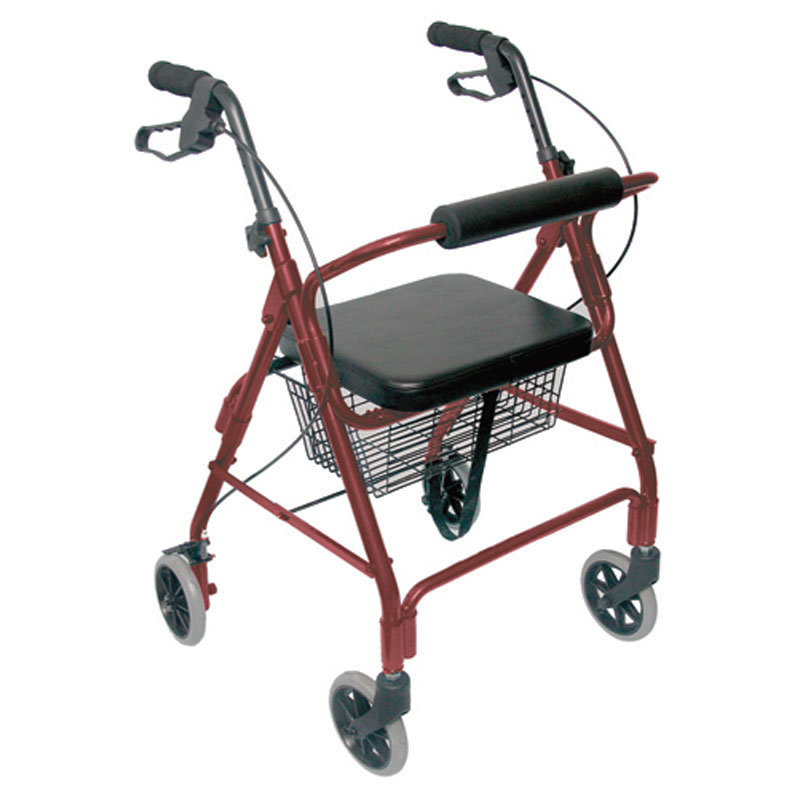 Mabis DMI Ultra Lightweight Aluminum Rollator Burgundy With Basket
