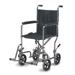 Mabis DMI Folding Steel Transport Chair Without Hand Brakes Chrome