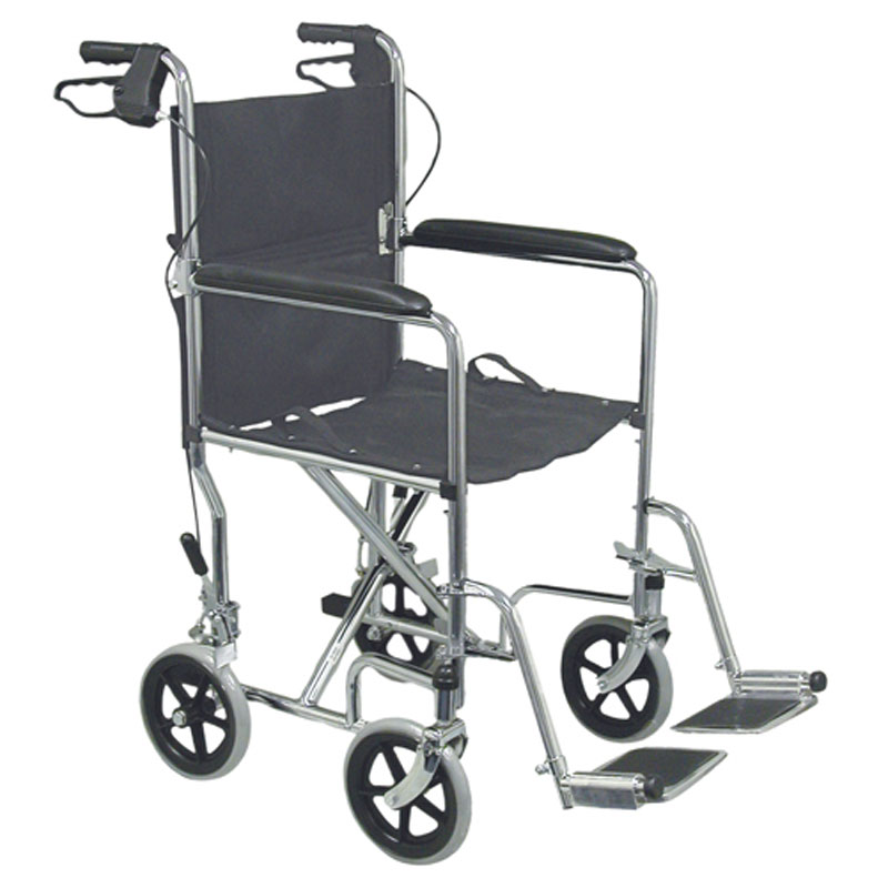 Mabis DMI Folding Steel Transport Chair With Hand Brakes Chrome