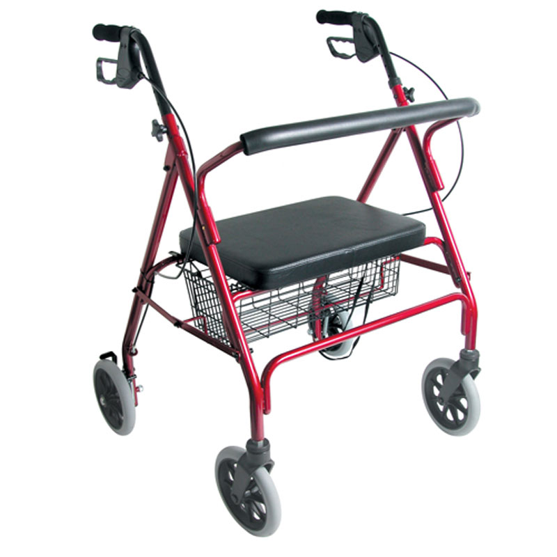 Mabis DMI Extra-Wide Heavy-Duty Steel Bariatric Rollator Burgundy