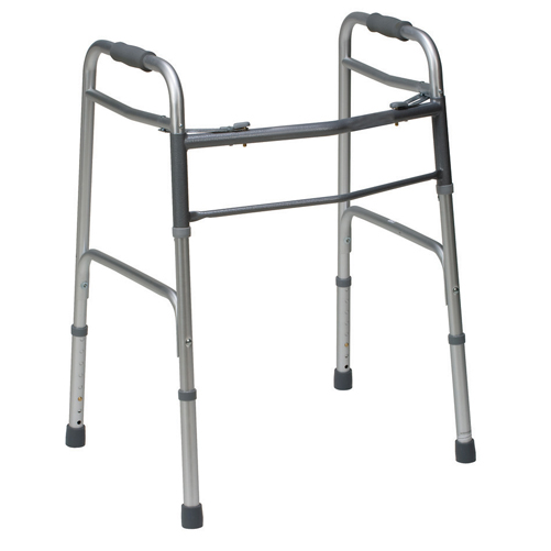 Mabis DMI Bariatric 2-Button Release Aluminum Folding Walker Silver